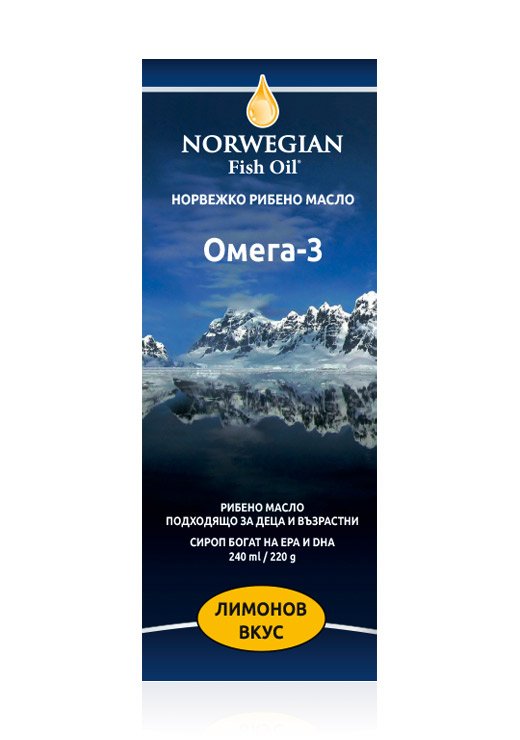 Norwegian fish oil liquid with lemon flavor